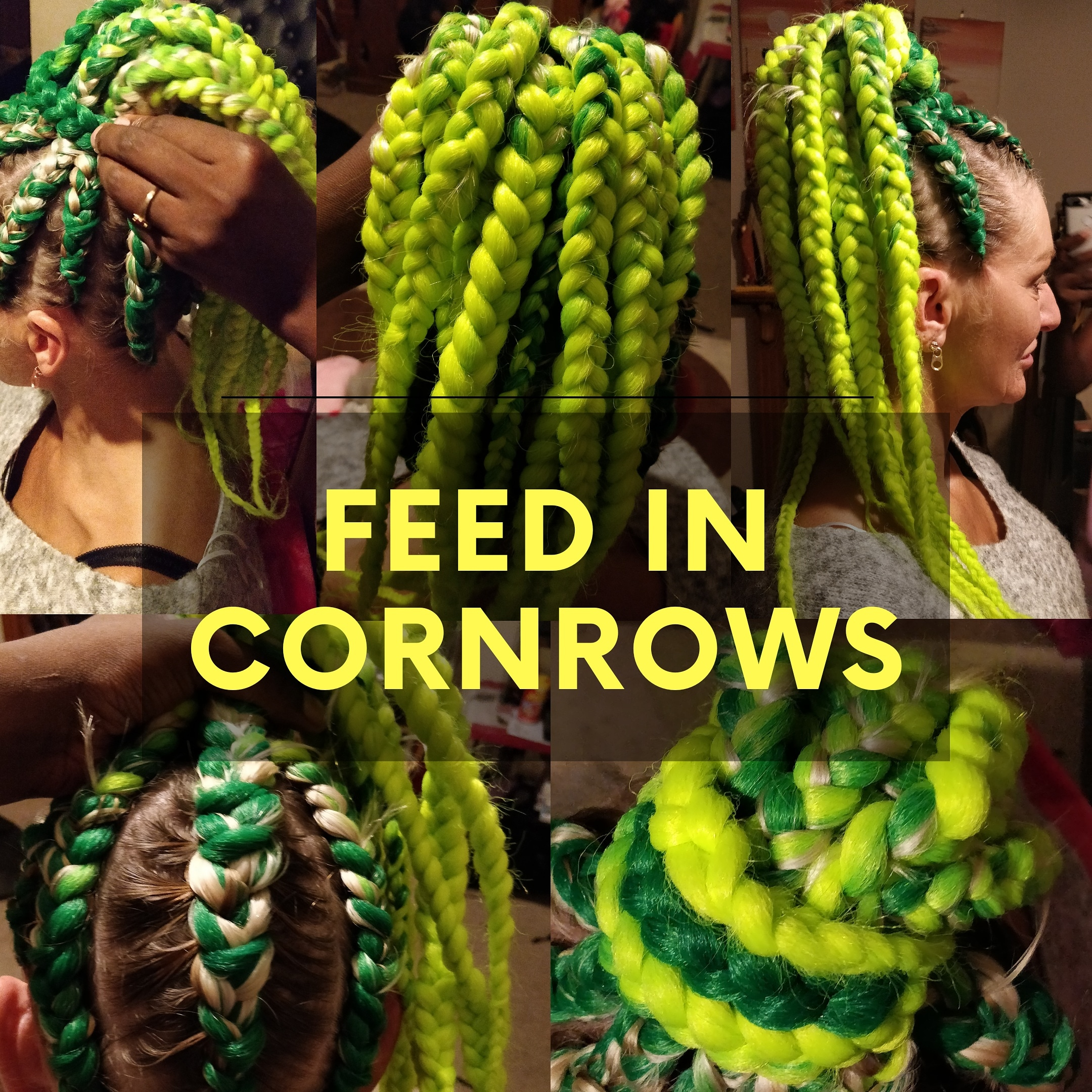 men and lady cornrows. Feedin style shown in the photo
