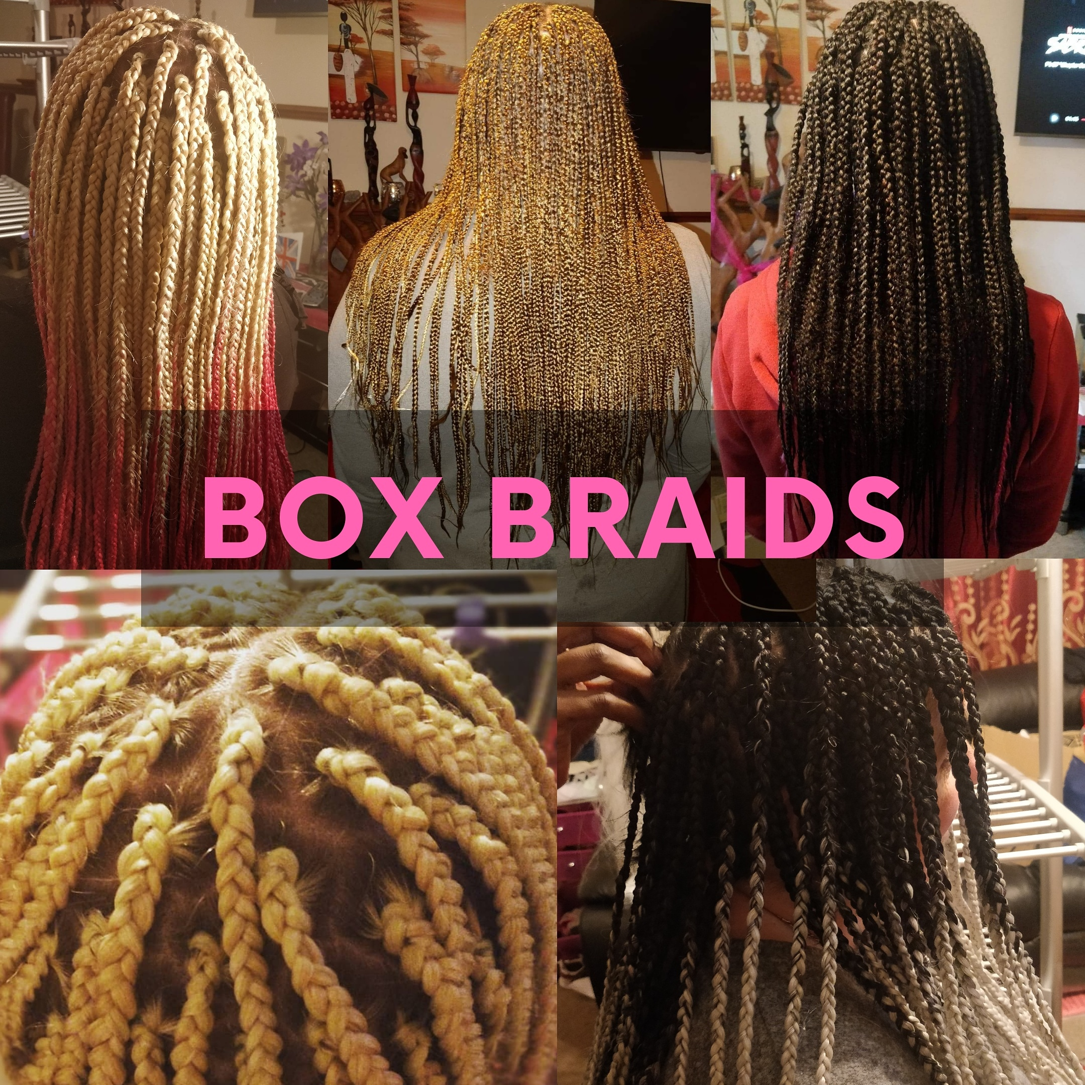 adult and kids box braids, where I plait your hair for you